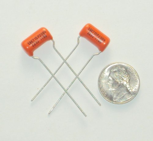 0610370339565 - LOT OF 2 .022 UF SPRAGUE / SBE ORANGE DROP GUITAR TONE CAPACITORS 200V 5% 715P