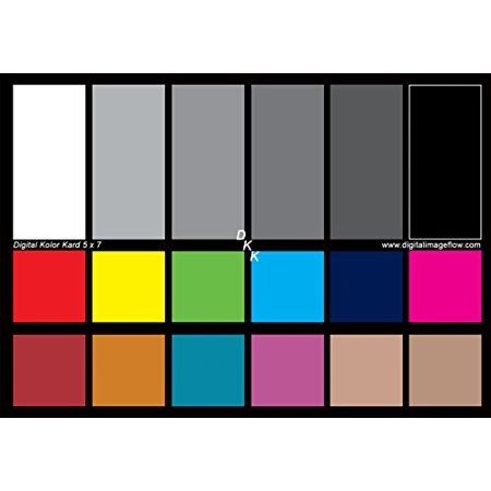 0610563153039 - DGK COLOR TOOLS DKK 5 X 7 SET OF 2 WHITE BALANCE AND COLOR CALIBRATION CHARTS WITH 12% AND 18% GRAY - INCLUDES FRAME STAND AND USER GUIDE
