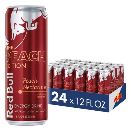 0611269283112 - (24 CANS) RED BULL ENERGY DRINK, PEACH-NECTARINE, 12 FL OZ