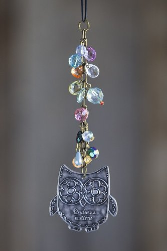 0614390316384 - NATURAL LIFE OWL KINDNESS MATTERS FLORAL MOTIF CAR CHARM WITH BEADS