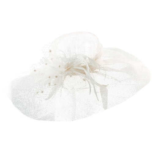 0616312172429 - SCALA COLLEZIONE LADIES SINAMAY WIDE BRIM DERBY CHURCH SUN HAT FEATHERS MESH IVORY