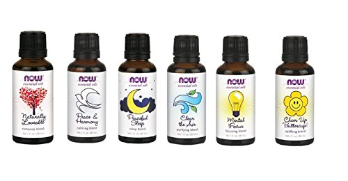 0616320130718 - A COMPLETE SET OF BLEND OILS FROM NOW FOODS - ROMANCE, PEACE, SLEEP, CLEAR THE AIR, MENTAL FOCUS AND CHEER UP BUTTERCUP