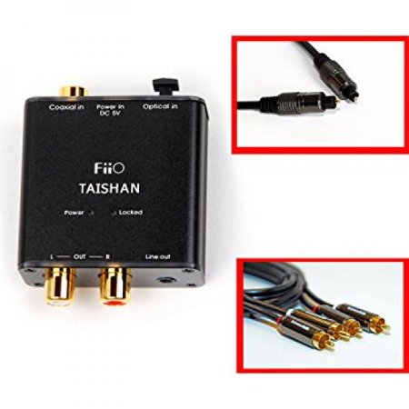 0616641959395 - FIIO D3 (D03K) DIGITAL TO ANALOG AUDIO CONVERTER WITH SMI GOLD PLATED 6FT OPTICAL TOSLINK CABLE AND RCA-TO-3.5MM AUDIO CABLE- 192KHZ/24BIT OPTICAL AND COAXIAL DAC