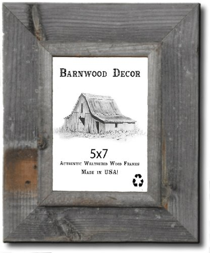0617395928552 - 5X7 PICTURE FRAMES - BARNWOOD RECLAIMED SIGNATURE WALL FRAME WITH PLEXI