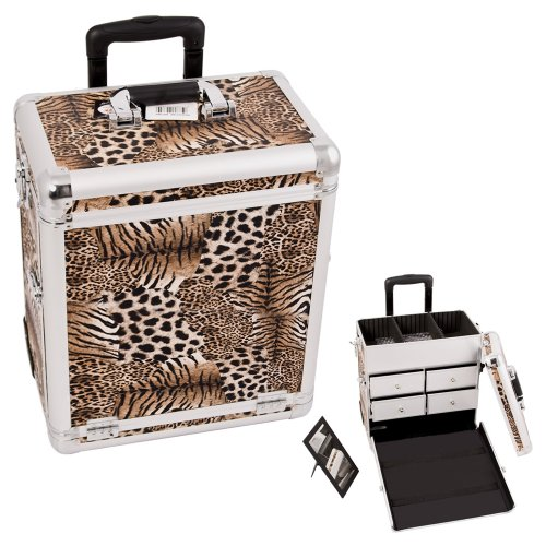 0618020867635 - SUNRISE BROWN INTERCHANGEABLE LEOPARD TEXTURED PRINTING PROFESSIONAL ROLLING ALUMINUM COSMETIC MAKEUP CASE WITH SPLIT DRAWERS - E6302