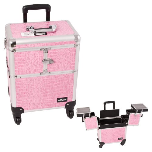0618020867642 - SUNRISE PINK INTERCHANGEABLE 3-TIERS ACCORDION TRAYS CROCODILE TEXTURED PRINTING PROFESSIONAL ROLLING ALUMINUM COSMETIC MAKEUP CASE - E6304