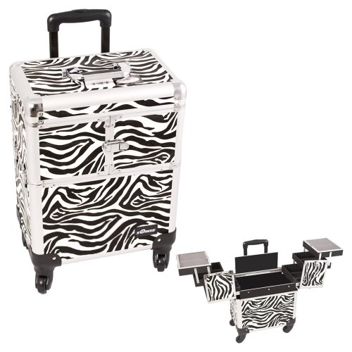 0618020867659 - SUNRISE WHITE INTERCHANGEABLE 3-TIERS ACCORDION TRAYS ZEBRA TEXTURED PRINTING PROFESSIONAL ROLLING ALUMINUM COSMETIC MAKEUP CASE - E6304