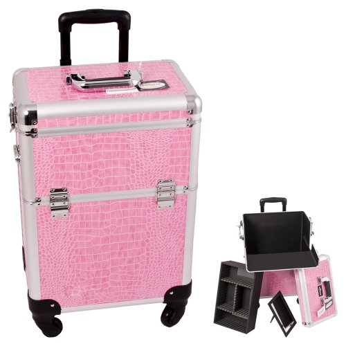 0618020867666 - SUNRISE PINK INTERCHANGABLE 4-WHEELS CROCODILE TEXTURED PROFESSIONAL ROLLING ALUMINUM COSMETIC MAKEUP CASE ORGANIZER WITH REMOVABLE TRAY AND DIVIDERS