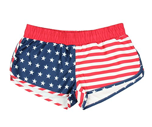 0624856635676 - AMERICAN FLAG WOMEN'S PRINTED SHORTS (MEDIUM)