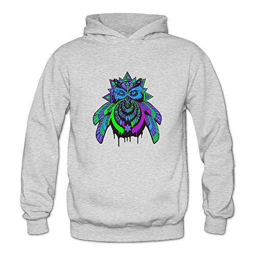 6262347029906 - CRYSTAL MEN'S BASS OWL BASSNECTAR TRIBUTE LONG SLEEVE HOODIE ASH US SIZE L