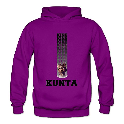 6262347033200 - CRYSTAL MEN'S KING KUNTA BLACK TEXT AND POSTERIZED LONG SLEEVE HOODIE HOODED PURPLE US SIZE L