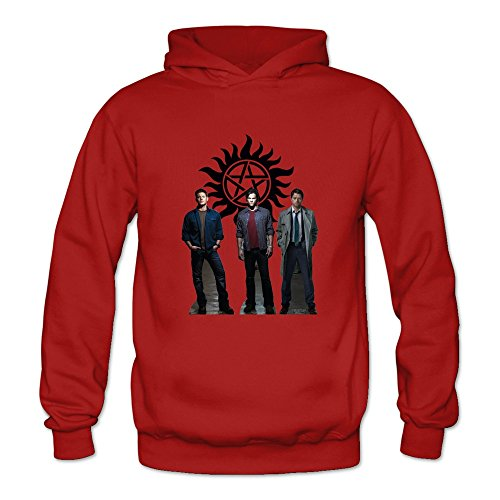 6262347121068 - CRYSTAL MEN'S SUPERNATURAL DEAN SAM WINCHESTER LONG SLEEVE HOODIE RED US SIZE XL