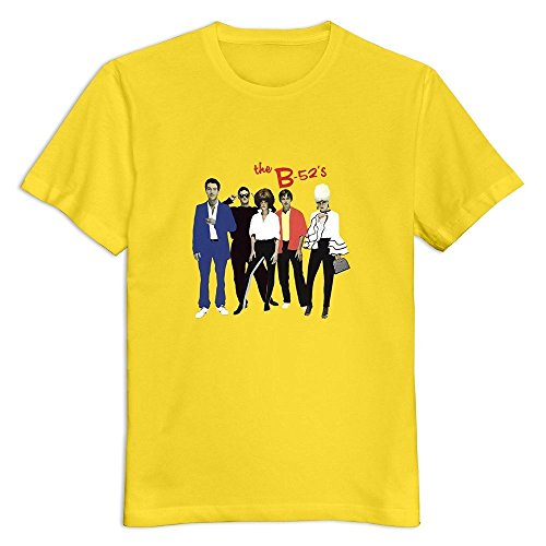 6262385058067 - CRYSTAL MEN'S B 52S O NECK DESIGN T-SHIRT YELLOW US SIZE M