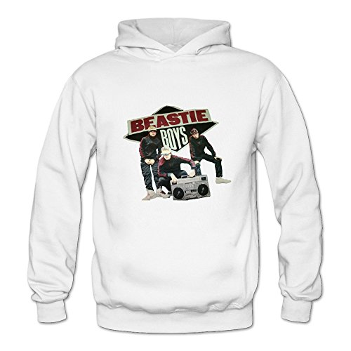 6262385581176 - CRYSTAL MEN'S BEASTIE BOYS LONG SLEEVE HOODED WHITE US SIZE L