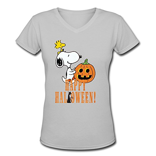 6262385816674 - CRYSTAL WOMEN'S FUNNY SNOOPY HAPPY HALLOWEEN QUOTE CARTOONS UNIQUE DESIGN V-NECK T-SHIRT DEEPHEATHER US SIZE L