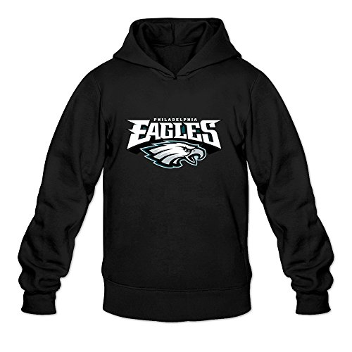 6262385840280 - CRYSTAL MEN'S NFL PHILADELPHIA EAGLES LOGO LONG SLEEVE HOODIED SWEATSHIRT BLACK US SIZE XL