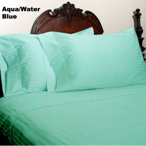 0627554117413 - 1000 TC EGYPTIAN COTTON KING SIZE ITALIAN SOFT & PURE AQUA STRIPE DUVET SET 3PC, SELLING -1904