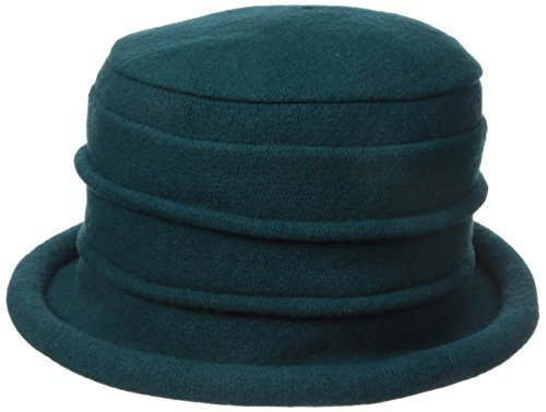 0630158563852 - SCALA WOMEN'S BOILED WOOL CLOCHE, TEAL, ONE SIZE