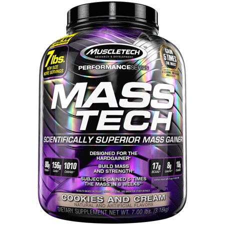 0631656708851 - MUSCLETECH MASS TECH, SCIENTIFICALLY SUPERIOR WEIGHT GAIN FORMULA, COOKIES AND CREAM, 7 LBS (3.18KG)
