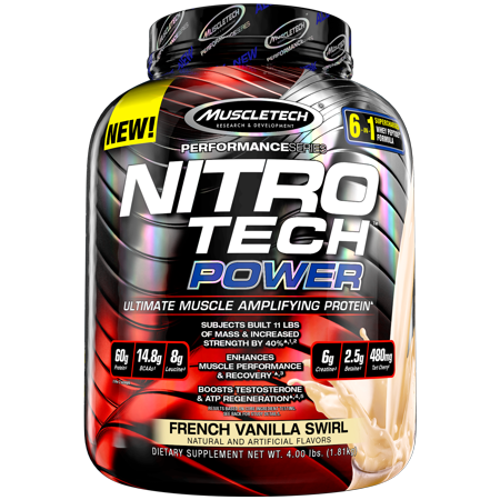 0631656709599 - MUSCLETECH NITRO TECH POWER POWDER, SUPERIOR WHEY PROTEIN PEPTIDE MUSCLE GROWTH FORMULA, VANILLA, 4 LBS (1.81KG)