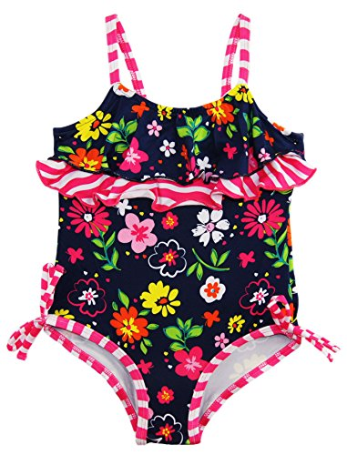 0633585660439 - PINK PLATINUM BABY GIRLS COLORFUL FLOWERS RUFFLE WAVE ONE PIECE SWIMSUIT, NAVY, 18 MONTHS