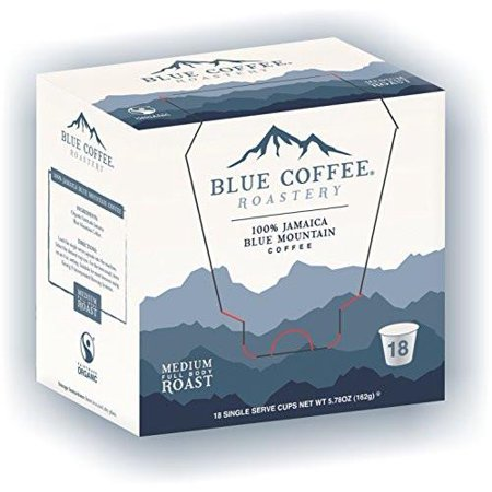 0635387910118 - BLUE ROASTERY FAIRTRADE ORGANIC 100% BOARD CERTIFIED GENUINE JAMAICA BLUE MOUNTAIN® COFFEE K-CUPS FOR KEURIG BREWERS (18-COUNT)