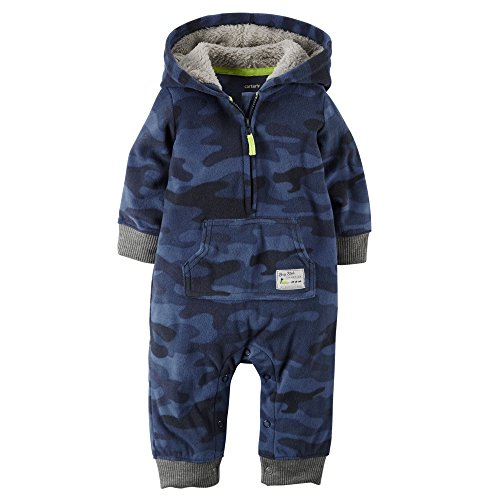 0635963783952 - CARTER'S BABY BOYS' HOODED/EARED ROMPER (BABY) - BLUE CAMO-9M