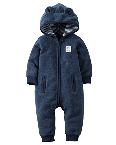0635963793005 - CARTER'S BABY BOYS' HOODED/EARED ROMPER (BABY) -CUB-18M