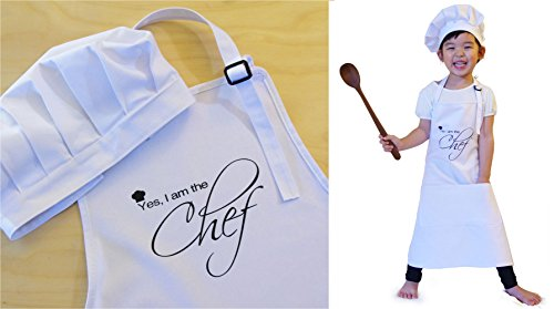 0637230899427 - OLE KIDS YES, I AM THE CHEF CHILDREN APRON + CHEF HAT SET, WHITE, 100% HIGH QUALITY COTTON - MADE FOR REAL KITCHEN USE, FITS 3-8 YRS