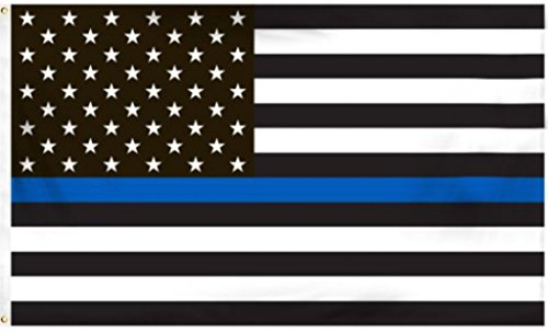 0637390438023 - BLUELINE FLAGS, 3 BY 5 FOOT THIN BLUE LINE FLAG HONORING OUR MEN AND WOMEN OF LAW ENFORCEMENT, BLACK, WHITE AND BLUE AMERICAN FLAG WITH BRASS GROMMETS