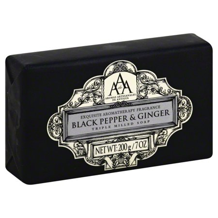 0639136613619 - AAA AROMATHERAPY BLACK PEPPER & GINGER TRIPLE MILLED SOAP 200G / 7OZ