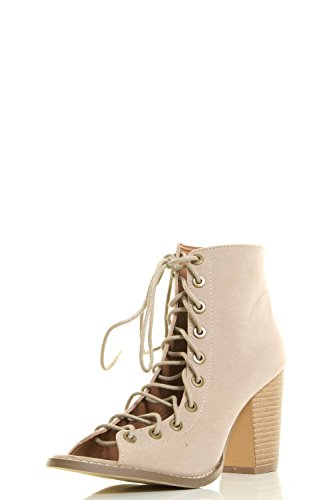 0642896883703 - YOKI WOMENS OPEN PEEP TOE LACE UP STRAPPY CORSET ANKLE BOOTIES CHUNKY HIGH HEEL BOOTS 7 BEIGE