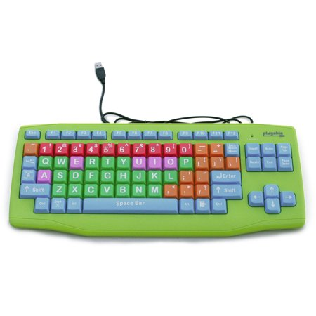 0649241921110 - PLUGABLE USB KIDS KEYBOARD (EXTRA LARGE KEYS - COLOR CODED)