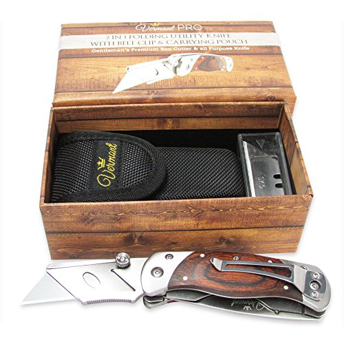 0650348965617 - VERMONT FOLDING UTILITY KNIFE 2 IN 1. BEST BOX CUTTER WITH BELT CLIP, WOODEN HANDLE AND STAINLESS STEEL. CARRYING POUCH, 5 EXTRA BLADES SET INCLUDED.
