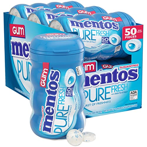 0657789552048 - MENTOS PURE FRESH SUGAR-FREE CHEWING GUM WITH XYLITOL, FRESH MINT, 50 PIECE BOTTLE (BULK PACK OF 6)