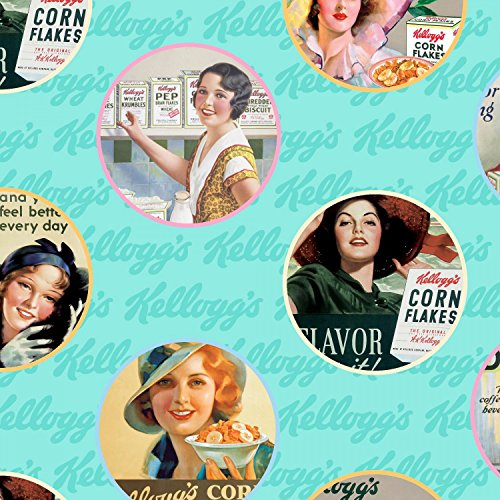 0661291954009 - VINTAGE LADIES KELLOGGS CEREAL ADS ON BLUE SOLD BY THE YARD COTTON PRINT