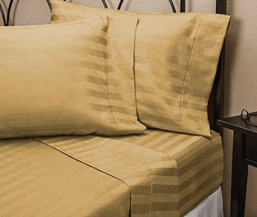 0661342255963 - 100% EGYPTIAN COTTON 500 TC 3 PIECE FITTED SHEET SET 16 INCHES DEEP POCKET UK SMALL SINGLE SIZE TAPUE COLOR STRIPE PATTERN