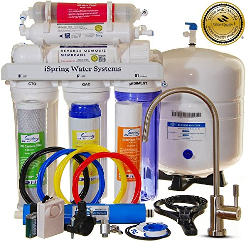 0662425038015 - ISPRING RCC7AK - BUILT IN USA, WQA CERTIFIED REVERSE OSMOSIS 6 STAGES 75GPD UNDER SINK WATER FILTER W/ ALKALINE STAGE, CLEAR HOUSING, DESIGNER FAUCET