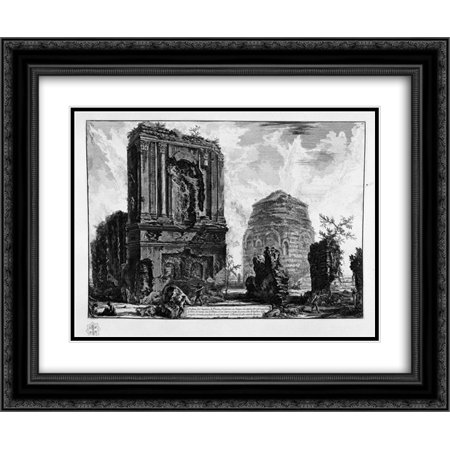 0663387732867 - GIOVANNI BATTISTA PIRANESI 2X MATTED 24X20 BLACK ORNATE FRAMED ART PRINT 'VIEW OF THE TOMB OF PISO LICINIANUS OF THE ANCIENT APPIAN WAY, BEYOND THE WATERWORKS TOWER HALF WAY ALBANO'