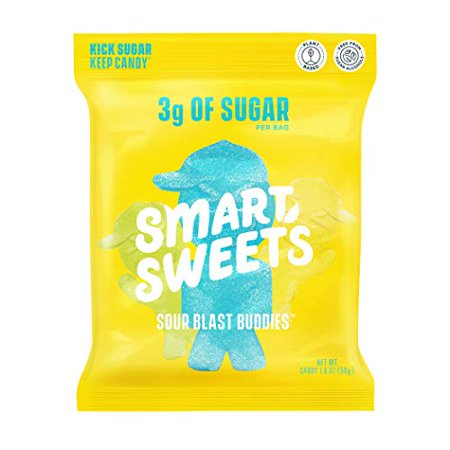 0669809222411 - SMARTSWEETS SOUR BLAST BUDDIES, CANDY WITH LOW SUGAR (3G), LOW CALORIE, PLANT-BASED, FREE FROM SUGAR ALCOHOLS, NO ARTIFICIAL COLORS OR SWEETENERS, PACK OF 12, NEW JUICY RECIPE