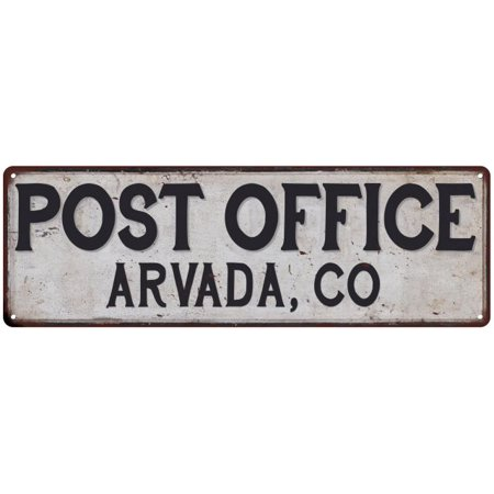 0670561267909 - ARVADA, CO POST OFFICE PERSONALIZED METAL SIGN VINTAGE 8X24 108240011229