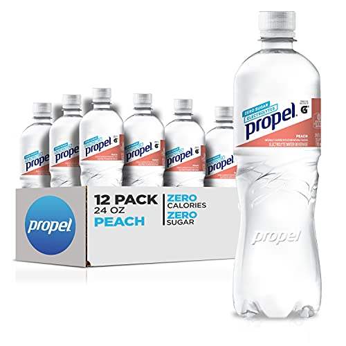 0670739358262 - PROPEL, PEACH, ZERO CALORIE WATER BEVERAGE WITH ELECTROLYTES & VITAMINS C&E, 24 FL OZ, PACK OF 12