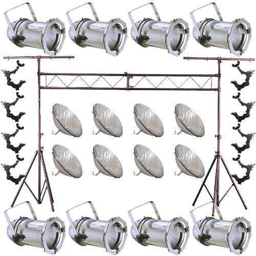 0675650111606 - 8 SILVER PAR CAN 64 1000W PAR64 WFL O-CLAMP TRUSS