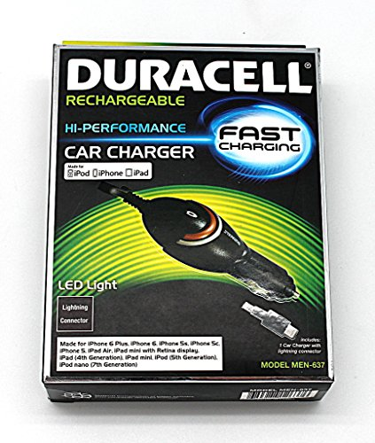 0680988126376 - DURACELL HIGH PERFORMANCE CAR CHARGER FOR IPHONE 5 AND IPHONE 6