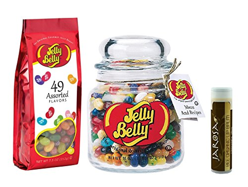 0682858087350 - JELLY BELLY 49 FLAVORS 18 OZ. GLASS APOTHECARY JAR WITH A 7.5 OZ GIFT BAG OF 49 ASSORTED FLAVORS JELLY BEANS & A JAROSA BEE ORGANIC CHOCOLATE BLISS LIP BALM