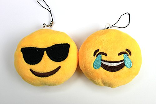 0684334566229 - OMO EMOJI SET OF 2 FACE WITH TEARS OF JOY AND SMILING FACE WITH SUNGLASSES YELLOW BRIGHT PLUSH TOY, BACKPACK PURSE ACCESSORY, KEYCHAIN, CHRISTMAS TREE ORNAMENT