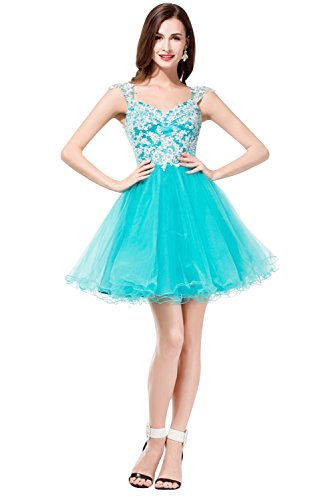 6920000804672 - SUNVARY APPLIQUES CAP SLEEVES SHORT TULLE HOMECOMING PROM DRESSES SWEETY 16 PAGEANT EVENING COCKTAIL GOWNS JUNIOR BRIDESMAID SIZE 2- BLUE
