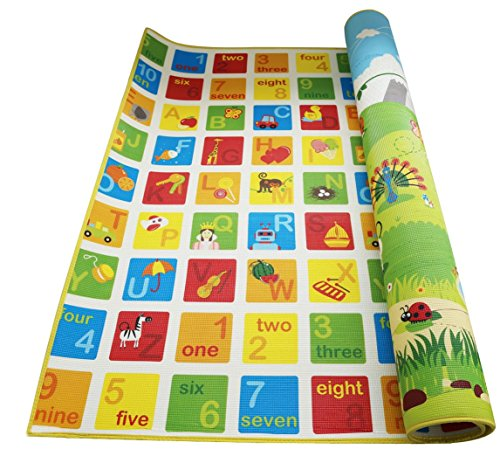 6943478013094 - HAPE BABY PLAY MAT FOR FLOOR, 70 X 59 INCHES | REVERSIBLE THICK, EXTRA LARGE FOAM PLAYMAT ENCOURAGES LEARNING, NON TOXIC, PRINTED, COLORFUL | IDEAL FOR TUMMY TIME, FOR BABIES 3 MOS +