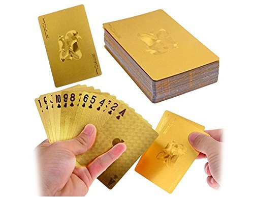 6971025999393 - LUXURY 24K GOLD FOIL POKER PLAYING CARDS DECK CARTA DE BARALHO WITH BOX (GOLDEN)