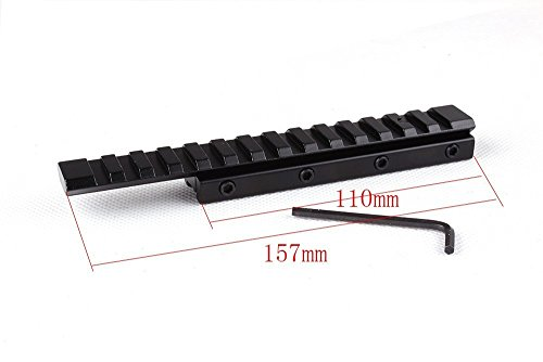 0697691981482 - 14 SLOT EXTENSION LOW PROFILE AIRGUN/.22 DOVETAIL RAIL 11MM TO 20MM WEAVER PICATINNY RAIL ADAPTER SCOPE MOUNT CONVERTER BY GOLDEN EYE TACTICAL